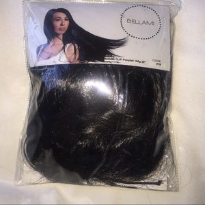 "Bellami Clip ponytail off black 160g ,20"" long"